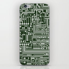 Circuit Board // Green & White iPhone Skin