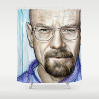 walter white Shower Curtains featuring Walter White Portrait by Olechka