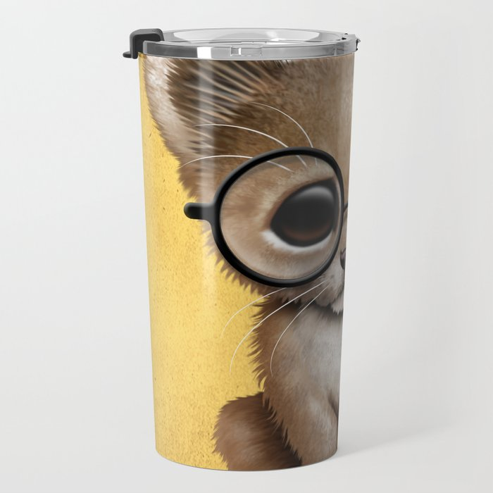 Cute Baby Lion Cub Wearing Glasses on Yellow Travel Mug