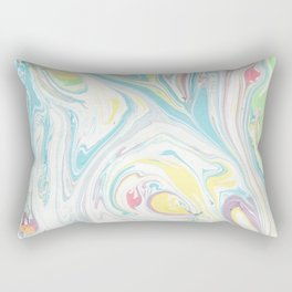 Hand painted abstract green yellow pink teal watercolor marble Rectangular Pillow