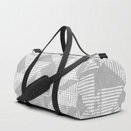 Stripe Triangle Geometric Block Print in Grey Duffle Bag