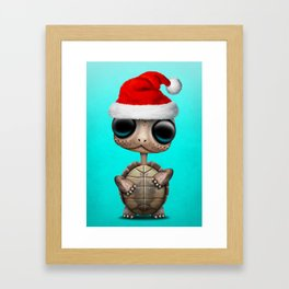 Christmas Turtle Wearing a Santa Hat Framed Art Print