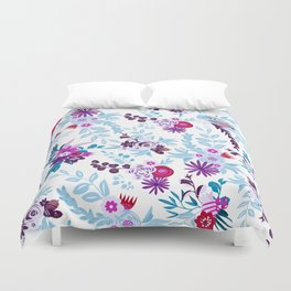 Abstract pastel blue pink country flowers pattern Duvet Cover