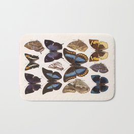 Vintage Scientific Insect Butterfly Moth Biological Hand Drawn Species Art Illustration Bath Mat