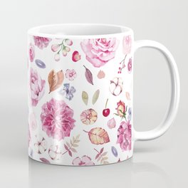 Watercolor hand painted botanical seamless pattern with flowers and leaves Coffee Mug