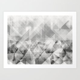 triangles white Art Print