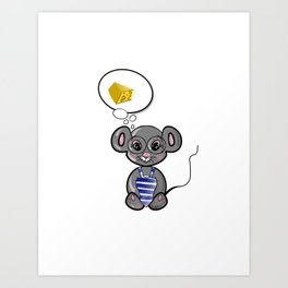 Cute mouse dreams about cheese Art Print