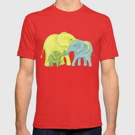Elephant Family of Three in Yellow, Blue and Green T-shirt