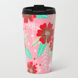 Floral Moths - Pink Travel Mug