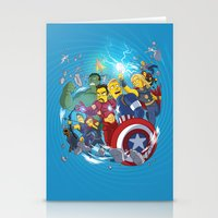 superheroes Stationery Cards featuring Superheroes by Adrien ADN Noterdaem