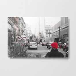 A Red Beanie's Journey Metal Print
