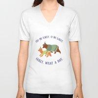 robin hood V-neck T-shirts featuring Robin Hood and Little John by Ellie Bockert Augsburger