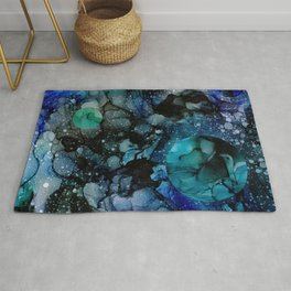 Blue Galaxy: Original Abstract Alcohol Ink Painting Rug