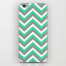 Mint Green, White, and Grey Chevron iPhone Skin