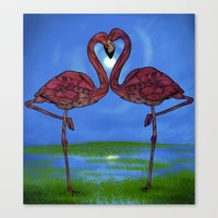 flamingos Canvas Prints featuring Flamingos by Ben Geiger