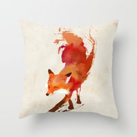 red hood Throw Pillows featuring Vulpes vulpes by Robert Farkas