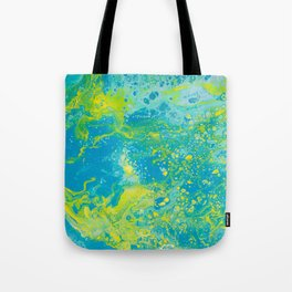Fluid Art Acrylic Painting, Pour 15, Blue, Yellow & Green Blended Color Tote Bag