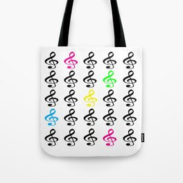 Colorful Treble Clefs Tote Bag