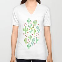 cacti V-neck T-shirts featuring Watercolor Cacti by Tangerine-Tane