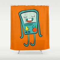 bmo Shower Curtains featuring BMO (Don't talk to me) by meiisita