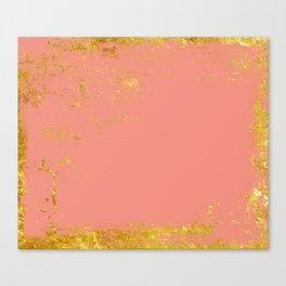 Coral gold grunge Canvas Print