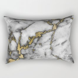Faux marble Stone Gray Tones Gold Accent Rectangular Pillow
