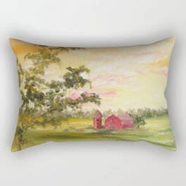 Red Barn, Farm Painting, by Faye Rectangular Pillow