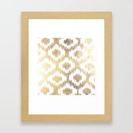 Modern white hand drawn ikat pattern faux gold  Framed Art Print