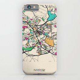 Colorful City Maps: Nairobi, Kenya iPhone Case