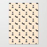 boston terrier Canvas Prints featuring Boston Terrier by Luiza Sequeira