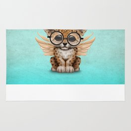 Cute Leopard Cub Fairy Wearing Glasses on Blue Rug