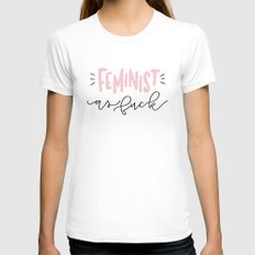 Feminist as Fuck White Womens Fitted Tee SMALL