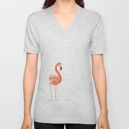 """Just Peachy"" - 5"" x 7"" acrylic painting of a Flamingo by Teresa Thompson Unisex V-Neck"