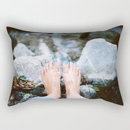 Barefoot by a lake in Big Sur, CA. Film & digital photography wall art from Big Sur, California. Art Print Rectangular Pillow