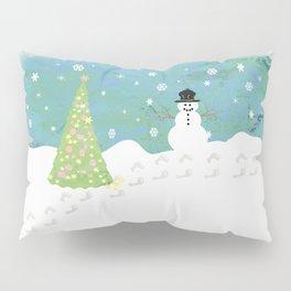 Snowman on Christmas Day Pillow Sham