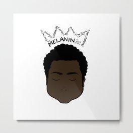 Melanin Crown - Boy 1 - White BK Metal Print