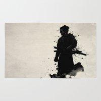 samurai Area & Throw Rugs featuring Samurai by Nicklas Gustafsson