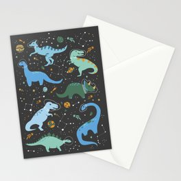 Dinosaurs in Space in Blue Stationery Cards