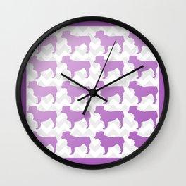 Purple Mini Aussie on Chevron Wall Clock