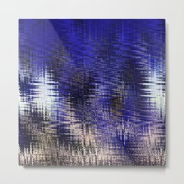 Blue Silver Modern Abstract Pattern Metal Print
