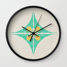 Pata Pattern in Green & Yellow Wall Clock