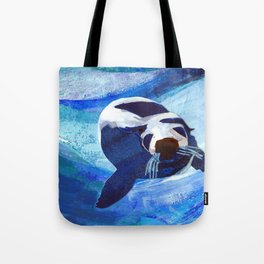 Swimming Seal Tote Bag