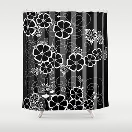 Abstract white and black flowers with background Shower Curtain