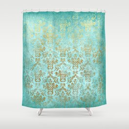 Mermaid Gold Aqua Seafoam Damask Shower Curtain