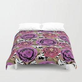 Brown purple flower Duvet Cover
