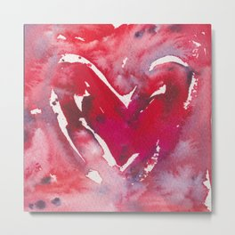 """Red Heart Love"" Red Pink & Magenta Valentine Ombre Heart Original Watercolor by Doreen Koch Allen Metal Print"