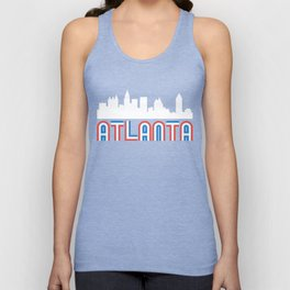 Red White Blue Atlanta Georgia Skyline Unisex Tank Top