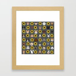 Dogs and cats pet friendly sunflowers animal lover gifts dog breeds cat person Framed Art Print