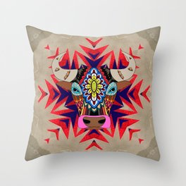 Fancy color bull divinity Throw Pillow