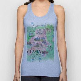 Atlanta Favorite Map with touristic Top Ten Highlights Unisex Tank Top